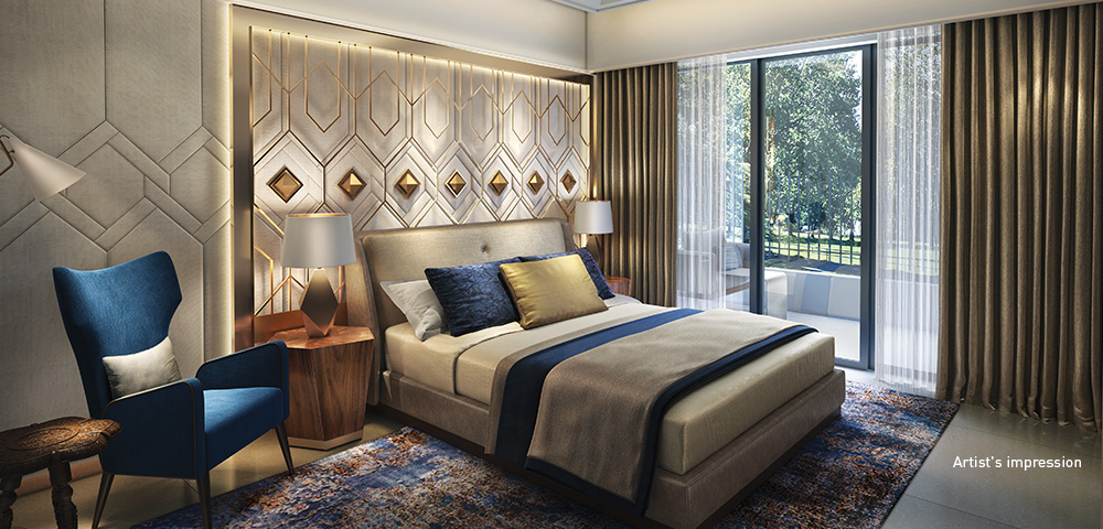 Lavish in every aspect, the master bedroom rivals a luxury suite in a 5-star hotel