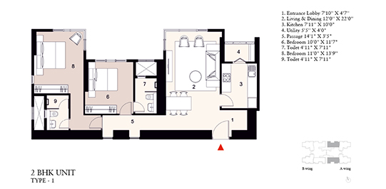 2 Bed Residence Type 1