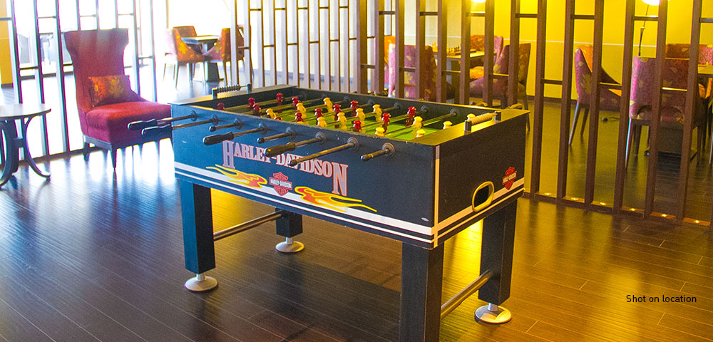Carrom, table tennis, foosball and snooker room