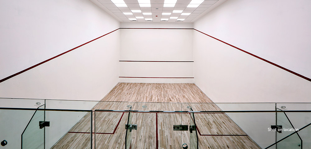 Squash courts with maple flooring
